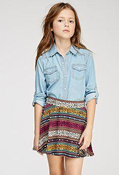 Floral-Striped Skater Skirt (Kids) | Forever 21 girls - 2000053427