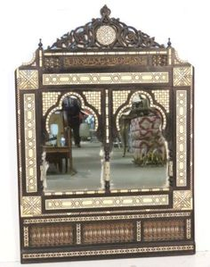 Islamic Syrian Mirror Wood Frame with Inlaid Mother-of-Pearl