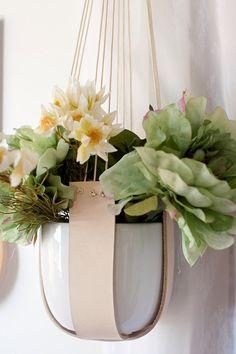 W I D E Leather pot plant hanger by KindaLovely on Etsy