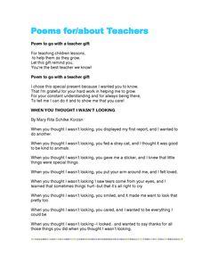 teacher appreciation poems - Google Search