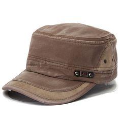 Man Woman Vintage Military Washed Cadet Hat Army Plain Flat Cap