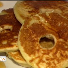 * Delicious breakfast: Apple Rings Dipped in pancake batter. Cook on a griddle and add cinnamon and sugar!