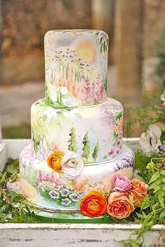 Watercolor painterly cake.