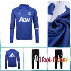 Manchester United Survetement Foot 16/17 Homme Bleu Haute Collier