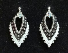 Russian-leaf-earrings-in-black-and-white. Only $15 at BeadAndBowtique on Etsy