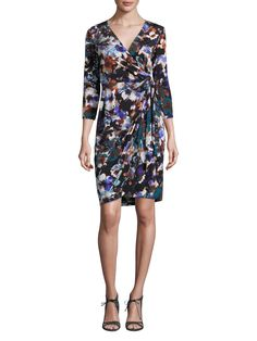 MAGGY LONDON SHADOW FLOWER JERSEY WRAP DRESS. #maggylondon #cloth # Gilmore Girls, Lorelai Gilmore, London Fashion, Teen Fashion, Wrap Dress, Dresses For Work, Clothes For Women, Flower, Casual