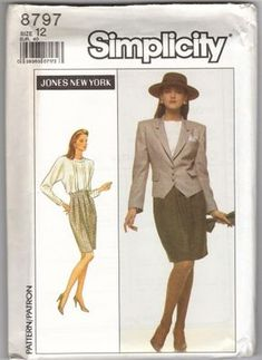 Simplicity 8787 1980s Jones of New York Misses Suit Skirt Blouse and Jacket Pattern Womens Vintage Sewing Pattern by patterngate.com
