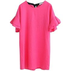 Hot Pink Ruffle Sleeves Tie Back Shift Dress (€25) ❤ liked on Polyvore featuring dresses, hot pink shift dress, tie back dress, pink shift dresses, flutter-sleeve dress and frill sleeve dress
