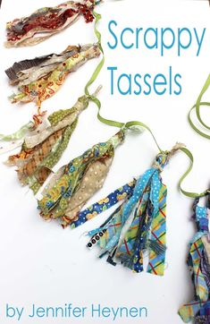 Tutorial: Scrappy fabric tassels, no sewing required - Sewing Crafts Scrap Fabric Projects, Fabric Crafts, Sewing Crafts, Sewing Projects, Diy Crafts, Upcycled Crafts, Repurposed, Fabric Beads, Fabric Jewelry