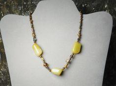 Yellow Quartz Beaded Choker Bohemian Necklace 15 Inches Brass