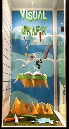cool 3D paper art window display by Noelia Lozano