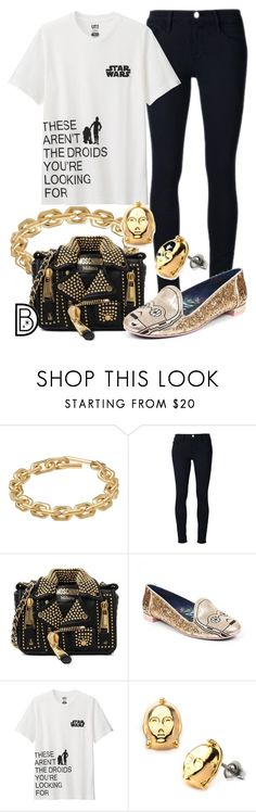 """These aren't the droids you're looking for..."" by leslieakay ❤ liked on Polyvore featuring Calvin Klein, Frame Denim, Moschino, Irregular Choice, Uniqlo, disney, disneybound and disneycharacter"