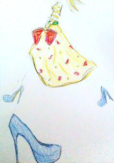 yellow/ patterns / blue suede heels