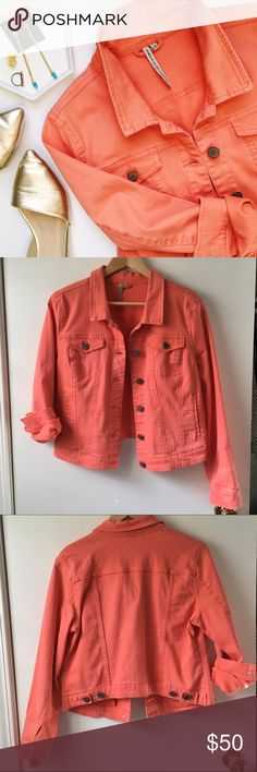 Romeo & Juliet Couture Colored Denim Jacket Fantastic pink/peach color, classic jean jacket style, super soft fabric blend, transitional through all seasons! In excellent condition!  Earrings and ring also available in my closet!☝🏻️  🚫 Trades/🅿️🅿️ ✨ 100% Authentic 💵 Offers Welcome 💰 Bundle Discount 📬 Ships in 1-2 Days Romeo & Juliet Couture Jackets & Coats Jean Jackets