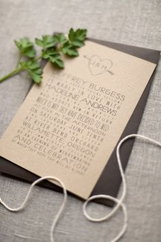 love these wood grain textured invitations using one of my favorite fonts, too...