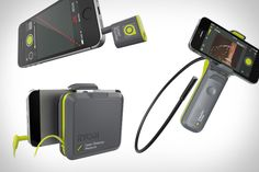 Ryobi Phone Works Tools - laser lever, infrared thermometer, laser measuring tape, stud finder, inspection scope, a moisture meter, and more...