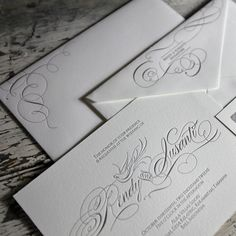 Poetica Letterpress Wedding Invitation Suite