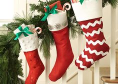 Homemade Stockings for Christmas! - Add vintage pins, earrings, glitter or fun shapes to plain stockings