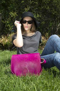 Large Fuschia Leather Saddle Bag $131.00