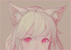 ANIME ART ✮ anime. . .neko. . .cat girl. . .cat ears. . .red eyes. . .cute. . .moe. . .kawaii