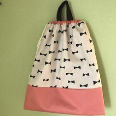 ハンドメイドマーケット+minne(ミンネ)|+リボン×ピンクの体操着袋☆巾着