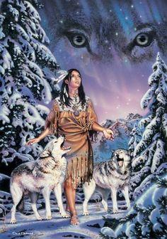 ... güzel kız ve kurt köpekleri, Native American woman and wolves