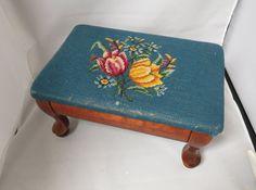 Vintage Needlepoint Foot Stool Blue Background Floral Flowers Queen Ann Style by KansasKardsStudio on Etsy