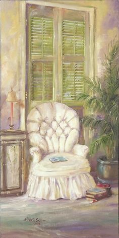 White Linen Chair- Marty Bell