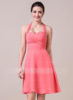 A-Line/Princess Halter Knee-Length Chiffon Bridesmaid Dress With Ruffle Bow(s) (007057065)