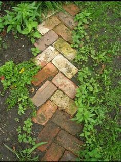 dogstooth pattern layout recycled brick garden path or border
