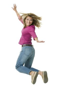 Happy Woman Jumping - She Lost Weight Fast!
