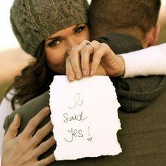 Ams!- Cute idea for your announcements... Creative ways to announce your engagement! (photo: EmilyAnne)