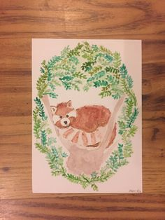 Check out this item in my Etsy shop https://www.etsy.com/uk/listing/475147735/red-panda-watercolour-original-artwork