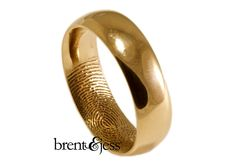 Brent & Jess LLC Jewelry - Gold Fingerprint inside wedding ring