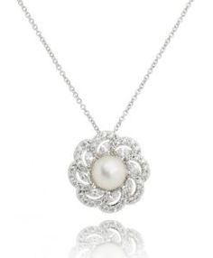 colar luxo de pérola com zirconias cristais e banho de rodio semi joias modernas