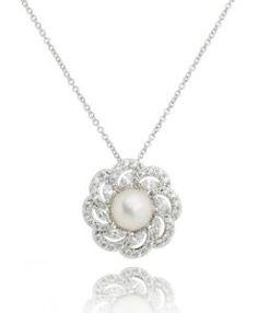 colar luxo de pérola com zirconias cristais e banho de rodio semi joias  modernas Semi Joias d4a8e1e0e1