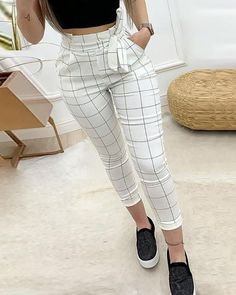 Women Plaid High Waist Skinny Pencil Drawstring Ankle-length Pants - School Clothes - Want - Fashions Trend Fashion, Fashion Pants, Fashion Dresses, Womens Fashion, Work Fashion, Style Fashion, Female Fashion, Cheap Fashion, 00s Fashion