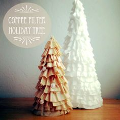 How cute are these Coffee Filter Holiday Trees? Check out this DIY and make your own! #MrCoffee