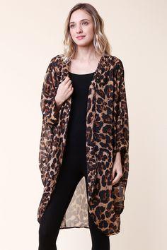 975210df700754 Leopard Printed Silk Chiffon Cardigan - GOZON Boutique