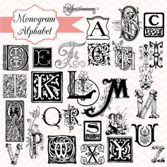 Items similar to OFF SALE! Vintage Monogram Alphabet, digital clip art and photoshop brushes: Commercial and Personal Use on Etsy Stylish Fonts, Monogram Alphabet, Typography, Lettering, Vintage Monogram, Calligraphy Letters, Penmanship, Photoshop Brushes, Antique Books