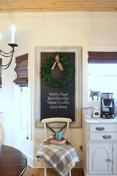 Winter Chalkboard Quote perfect for a quick decor change, write your favorite winter saying on your chalkboard using these easy directions. Mason Jar Christmas Decorations, Christmas Mason Jars, Home Decor Bedroom, Diy Home Decor, Room Decor, Diy Decoration, Cookie Decorating, Decorating Your Home, Decorating Ideas