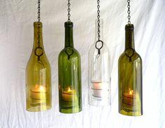 Gold Glass Wine Bottle Candle Holder Hanging Hurricane Lantern