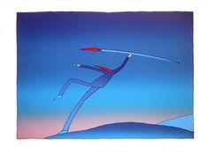 La plume de l'écrivain ou du dessinateur est une arme...  / The artist. / L'artiste. / Sérigraphie. / By Jean Michel Folon.