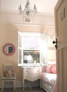 S Shabby Chic French Bedroom Vintage Pastel Pink Pram Shutters Fireplace Baby Rattan Chair Clear Chandelier