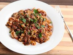 Pasta With Rich and Hearty Mushroom Bolognese // This looks great. Oh and it's vegan. Great ideas for richness and umami through tomato paste, miso, soy, mushrooms, and eggplant.