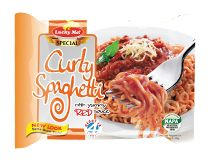 Lucky Me! Special Curly Spaghetti Ever wondered how playful spaghetti can get? We're giving this all-time favorite a twist! Enjoy curly noodles with sweet-style spaghetti sauce and real meat bits. Curly Noodles, Brand Management, Spaghetti Sauce, Sweet Style, Filipino, Pride, Canning, Meat, Ethnic Recipes