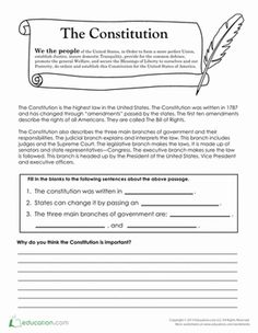 Printables The Constitution Worksheet rochelles birthday surprise comprehension worksheets fourth grade civics government the constitution