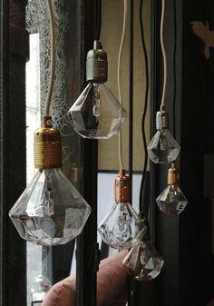 Easy Pieces: Festive Lightbulbs, Holiday Edition I'm lovig this Diamond Light Bulb found onRemodelista. Who needs a shade?I'm lovig this Diamond Light Bulb found onRemodelista. Who needs a shade? Mood Light, Lamp Light, Light Up, Cool Lighting, Lighting Design, Industrial Lighting, I Love Lamp, Wall Lights, Ceiling Lights