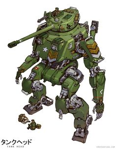 """Tagged with art, mecha monday, but on a tuesday; Shared by Emerson Tungs """"Tankhead"""" (and some jetheads too) Robot Concept Art, Armor Concept, Emerson, Zoids, Character Art, Character Design, Character Concept, Fighting Robots, Wolfenstein"""