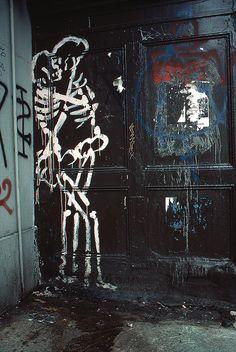 Amorous skeletons, East Village, New York, 1984